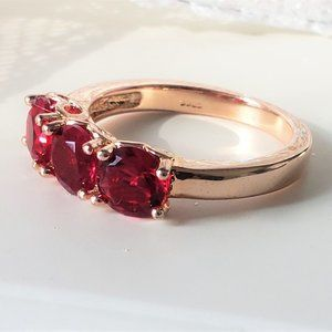Rose on Rose Sterling Ring Red Sz 8 Womens